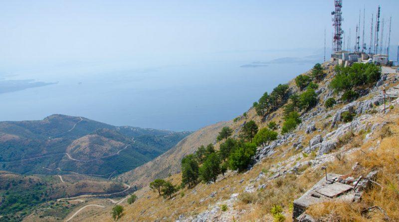 Vergezicht vanaf het hoogste punt van Corfu.
