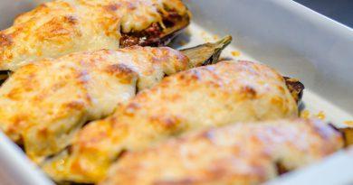 Gevulde aubergines met gehakt recept (melitzanes papoutsakia)