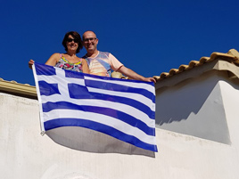 Ans en Peter van Villa Zizani in de Peloponnesos